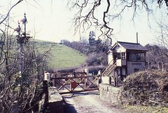 SHADES OF THE PAST (Malvern Firebrand) Tags: coombe junction crossing signal box looe branch cornwall april 1975 475 scenic scenery rural countryside signals semaphores signalbox signalling westcountry kernow gates outdoors liskeard farming fields hillside