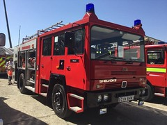 6308 - LFB - GYW 614Y -785766 (Call the Cops 999) Tags: uk gb united kingdom great england 999 112 emergency service services vehicle vehicles brooklands museum open day bank holiday monday 5 may 2018 fire and rescue preserved lfb london brigade shelvoke drewry spv cfe cheshire engineering pump escape gyw 614y britain