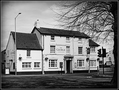 The George, Bilton (Jason 87030) Tags: thegeorge bilton warks rugby warwickshire pub inn building architecture tree naked trunk branch bare frame border bw bbw black white noir blanc blackandwhite effect mono uk england windows