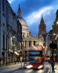 St Paul's Morning (JH Images.co.uk) Tags: london stpauls cathedral church night clouds bus zoom transport street hdr dri