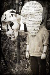 Death Mask (Seeing Visions) Tags: 2018 mexico mx mexicocity ciudaddeméxico cdmx skull mask text man male masked garden monochrome sepia texture raymondfujioka