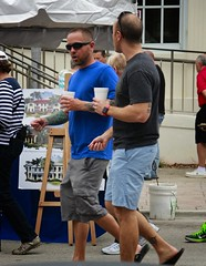 Walking and Drinking (LarryJay99 ) Tags: tshirt man men guy guys dude male studly manly dudes handsome people virile hairyarms musculararms gayguys hotdudes mustache goatee facialhair stubble scruff scruffy hairyfaced beard tatts tattoos tattooed walking flipflops barefeet