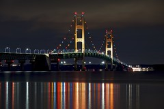 mackinac bridge (twurdemann) Tags: bridge greatlakes interstate75 lakehuron lakemichigan longexposure lowerpeninsula mackinacbridge mackinaccounty mackinaw mackinawcity michigan night northernmichigan reflection straitsofmackinac suspensionbridge tollbridge unitedstates upperpeninsula water winter