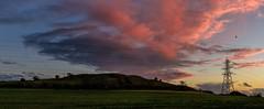 Caesar's Camp at sunset (James Waghorn) Tags: nikkor35mmf18 folkestone nikon d7100 pylon winter tree sunset panorama kent field clouds caesarscamp castlehill powerline england bird