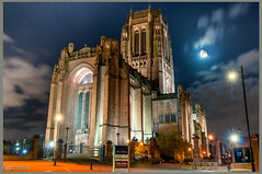 Liverpool Anglican Carthedral (Bob Edwards Photography - Picture Liverpool) Tags: gilesgilbertscott georgefrederickbodley frederickthomas cathedral pictureliverpool merseyside bobedwardsphotography building architecture stjamesmount bishop worship anglicanengland night evening lights moon