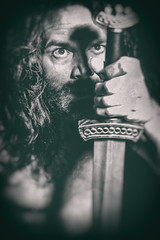 None Shall Pass (Glavind Strachan Photography) Tags: sword larp knight viking gothic moody selfie blackandwhite photoshop magical experimental