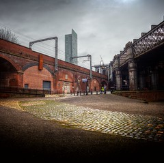 Manchester (Missy Jussy) Tags: castlefield manchester urban city northwest england greatbritian sky light path railway bridge architecture 24mm ef24mmf28 canon5dmarkll canon5d canoneos5dmarkii canon outdoor outside people redbrick steel