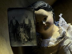 Tintype & Peacham Vermont Doll from Kate (1860) & Sarah (1863) Harriman. Kate sold the doll in 1937, the year Sarah died. Parents & husbands were farmers. Kate - librarian. Sarah - teacher. Their brother fought in the civil war, at the age of fifteen. (leaf whispers) Tags: kateharriman peacham antique doll papiermâché papermache mssuperior browneyes greiner forsale buy alloriginal müllerstrassburger americana folkart shoulderhead germany woman girl lady primitive provenance turrellharriman dollwithprovenance turrellelkinsharriman katehutchinson browneyed tintype ferrotype man men african american gentleman 1800 19thcentury victorian avisrobinson eugenerobinson collection photo photograph photographie black bowlerhat walkingstick bowler hat three two 3 2 clockworkorange blackamericana