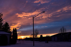 Colourful winter sunset (darletts56) Tags: sky blue cloud clouds purple pink orange yellow gold golden black sihouette sun sunset house houses home homes tree trees snow white bright ray rays wind windy winds vehicle vehicles saskatchewan canada prairie village dusk country road street highway field fields pole poles post posts lamp light lights wire wires line lines