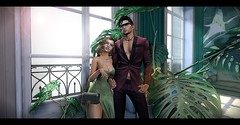 Moncada W&M (sotwinkling) Tags: sotwinkling house skybox sky tan skin hair chic moncada bag necklace glasses luxe palm green curtains curtain couple photo pose poses