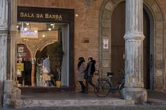 Bologna (Italy) - Piazza Santo Stefano (Massimo Battesini) Tags: bologna cittàmetropolitanadibologna italia it olympusem5markii olympus em5markii panasoniclumixgxvario35100f28 panasonic lumix panasonic35100mmf28 portici arcades soportales volte archi arch porticos piazza place square plaza bicicletta vélo bicycle biciclettes bicicletas biciclette bike bikes centrostorico zentrum centreville centromedievale centremédiéval medievalcenter centromedieval città ville city stadt town ciudad photographiederue streetphotography fotografiaderua photosdelavie escenacallejera italien italy italie emiliaromagna piazzasantostefano europe europa barbiere barbershop