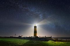 St John's Point - The Living Beacon (Patryk Sadowski) Tags: lighthouse sky night stars codown ireland sea rocks stjonspoint