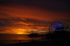 Mama Nature's Art (jan lyall) Tags: santamonicapier santamonica sunset ferriswheel dock pier orange blue lights janlyallphotography