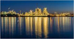 Industrial skyline (Rob Schop) Tags: dupont thechemourscompany dordtrecht sliedrecht industrie bluehour reflection sigma30mm14 longexposure lights sonya6000 lrcc