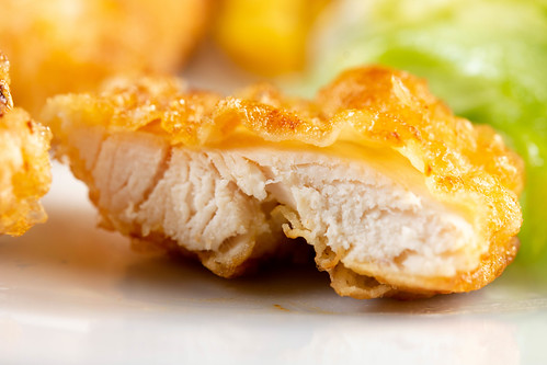 Closeup on Fried Chicken Meat