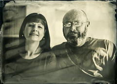 Rachel & George (Blurmageddon) Tags: seneca8 5x7 largeformat wetplatecollodion epsonv700 moderncollodion coppersulfatedeveloper vinegardeveloper alumitype newguycollodion sister brotherinlaw portrait