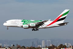 """A6-EOL, Green """"Expo 2020"""" Livery, Emirates, Airbus A380-861, KLAX, December 2018 (a2md88) Tags:"""