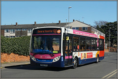 37055, Cliftonville (Jason 87030) Tags: ngh generalhospital northampton northants northamptonshire bus visit 8 branded branding 9b e200 enviro sunny blue sky red white orange midlands stagecoach service route sunday march 2019