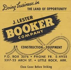 J. Lester Booker & Company - Little Rock, Arkansas (The Cardboard America Archives) Tags: littlerock arkansas vintage matchbook matchcover construction