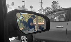 March 25, 2019 (365 Gay #2-220) (gaymay) Tags: california desert gay love palmsprings riversidecounty coachellavalley sonorandesert 365gay gasstation pumpinggas clone rearviewmirror outside