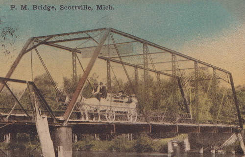 CEN Scottville MI c.1908 Pere Marquette River Iron Bridge for Horse Drawn Wagons Buggys & early Cars too early BROWN & STEELHEAD Trout Fishing Hole North South Village Link Mason County1