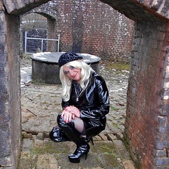 Shiny at the quarry (emmalouise tgirl) Tags: emma emmalouise tgirl tranny trans blonde miniskirt heels pvc boots thighboots