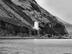 Scotland West Highlands Argyll the lighthouse on the northern coast of Holy Island 1 July 2018 by Anne MacKay (Anne MacKay images of interest & wonder) Tags: scotland west highlands argyll lighthouse cliff northern coast monochrome blackandwhite holy island landscape 1 july 2018 picture by anne mackay