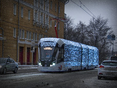 Winter tram (janepesle) Tags: russia moscow street new year christmas travel transport tram traffic architecture outdoors urban city cityscape winter snow illumination decoration москва улица галушкина трамвай