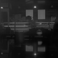 Late night donuts at Angel's (fleshfaced) Tags: photography analog retro mediumformat 120 mamiyac220 mamiya tlr twinlensreflex 80mm mamiyatlr blackandwhite bnw blackwhite ilford ilfordhp5 donuts donutshop pdx portland oregon