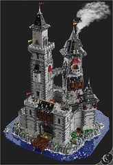 Castell Y Llyn - General view (Corvus Auriac MOCs) Tags: lego moc afl castle medieval building tower water roof fantasy dark photoshop