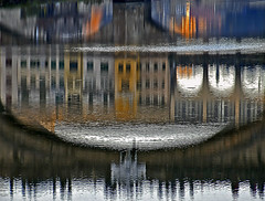 under the bridges of Florence (pannaphotos aka Anna Leporati Serrao) Tags: bridges florence italy reflection abstract distortion water river arno people firenze italia ponte ponti riflesso fiume