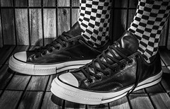 Converse Leather. (CWhatPhotos) Tags: cwhatphotos photographs photograph pics pictures pic picture image images foto fotos photography that have which with contain mk iii digital camera lens converse chucks all star stars shoes black leather feet socks bw white check checked checky checks foot wear