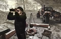 Ain't No Mountain High Enough (Sadwolf SL Photos) Tags: binoculars kibdesigns optmusrace darknessevent jacket winter snow jeep mountain slfashion slphography slblogger avatar secondlife virtualworld fire