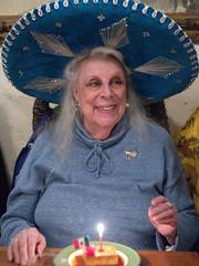 Mom Celebrating her 92nd Birthday - Nikon D750 - AF-S Nikkor 50mm 1:1.4 G (divewizard) Tags: nikond750 nikon d750 dslr fx afsnikkor50mm114g afs nikkor 50mm f14 g 50mmf14g manhattanbeach losangeles losangelescounty california panchos panchosrestaurant panchosmexicanrestaurant mexicanrestaurant mother grandmother 92 sombrero hat candle happy desert flan bluesombrero 92yearold 92yearsold portrait retrato existinglight sombreroazul azul blue bluehat ninteytwo noventaydos highiso iso12800 12800