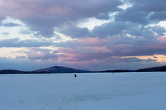 Sunset On A Frozen Lake (Northern Wolf Photography) Tags: 14140mm 28mm clouds em5 frozen ice kineo lake moosehead mountain mountains olympus sky snowmobile sunset winter greenville maine unitedstatesofamerica us