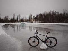 2019 Bike 180: Day 39, February 26 (olmofin) Tags: 2019bike180 finland bicycle polkupyörä lustinrataskating rink espoo melting sulaminen jää ice