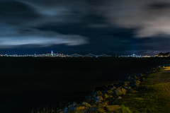 bay shore to bay shore (pbo31) Tags: bayarea california eastbay alamedacounty nikon d810 color night dark black march 2019 boury pbo31 urban bayfarmisland alameda sky water bridge baybridge sanfrancisco salesforce skyline sas easternspan 80 rain weather