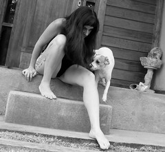 (tatiana barthem) Tags: selfie portrait dogs dog woman tattoo tattoogirl gibigirl selvagem photoart art blackandwhite bw black blackhair expression street streetdog selfieportrait picture shot picsart conceptart contemporary girl femme stairway