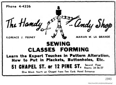1945 The Handy andy shop - fanric and and sewing classes    51 Chapel and 12 Pine St entrances (albany group archive) Tags: 1940s old albany ny vintage photos picture photo photograph history historic historical