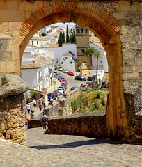 old gate, Ronda (majka44) Tags: spanielsko spain andalusia people travel nice atmosphere architecture building church grass red wall white road car parking memory light city history frame