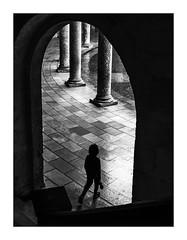Dans la cour de Charles Quint. (francis_bellin) Tags: mars blackanwhite olympus andalousie streetphoto street netb photoderue grenade escalier noiretblanc monochrome lalhambra rue colonnes bw 2019 pluie espagne