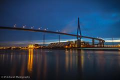 Köhlbrandbrücke - Hamburg (schda22) Tags: germany hamburg bridge longexposure nightshot bluehour water experience canon haida benro