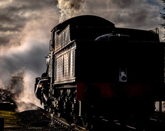 Manor makes a move (Peter Leigh50) Tags: great gcr gala central railway railroad rail sunshine steam station rothley train track locomotive tender lamp sky engine gwr exgwr manor class 78xx winter january fujifilm fuji xt2