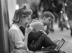 LUNCH AT THE PHOTOGRAPHY SHOW, NEC_DSC_3265_LR_2.5 (Roger Perriss) Tags: 2019 peopleinpublic photographyshow d750 blackandwhite monochrome sitting woman lady girl laptop computer eating sandwich sittingwoman sittinglady ladyeating eatingfood