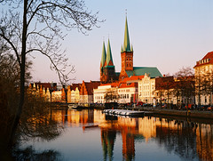 Lübeck (kishjar?) Tags: medieval city trave river germany film hanseatic brick gothic cathedral church пленка europe houses 645 ektar