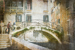 A bridge in Venice (judy dean) Tags: judydean 2019 2005 reworked venice bridge canal people fencefriday