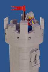 A Solitary Lookout (David Roberts 01341) Tags: lego ldd mecabricks render castle grey smooth lookout watchtower minifigure knight