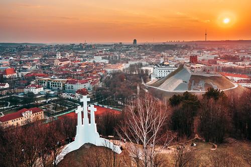 Vilnius   Spring sunset   Aerial
