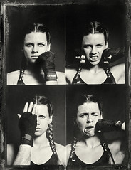 Anne (erikschlicksbier) Tags: collodion wetplate ambrotype kickboxing female kickboxer boxer boxing fun polaroid miniportrait camera retro vintage studio photography sport sports braided hair analog kollodium nassplatte kickboxerin boxerin sportlerin fotografie geflochtene haare analogue collage