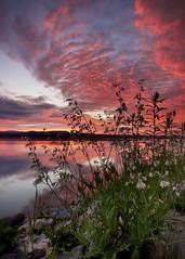 Lever du jour sur le Saguenay en juillet (gaudreaultnormand) Tags: bleu calme canada froid juilllet leverdesoleil matin orange paysage quebec reflets rouge saguenay sunrise